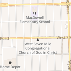 Directions for West Seven Mile Congregational Church of God in Christ in Detroit, MI 10424 W 7 Mile Rd